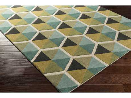 Surya Kennedy Rectangular Teal, Aqua & Olive Area Rug