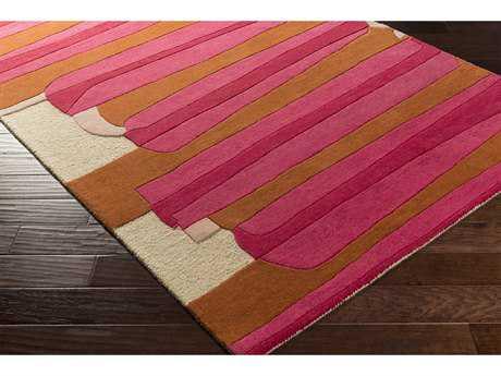 Surya Kennedy Rectangular Bright Pink, Bright Red & Burnt Orange Area Rug