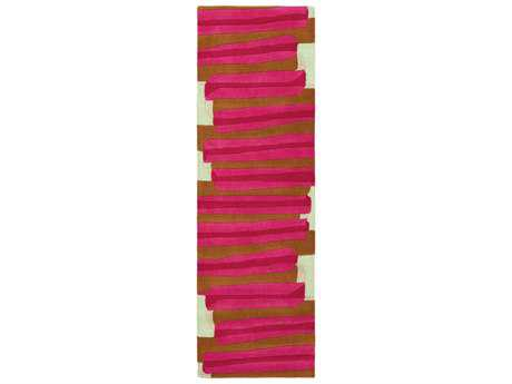 Surya Kennedy 2'6'' x 8' Rectangular Bright Pink, Bright Red & Burnt Orange Runner Rug