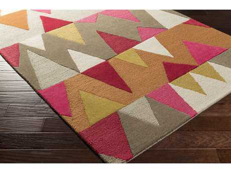 Surya Kennedy Rectangular Bright Pink, Burnt Orange & Olive Area Rug