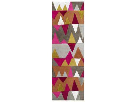 Surya Kennedy 2'6'' x 8' Rectangular Bright Pink, Burnt Orange & Olive Runner Rug