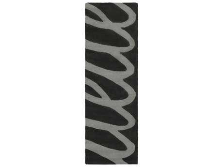 Surya Kennedy 2'6'' x 8' Rectangular Black & Medium Gray Runner Rug