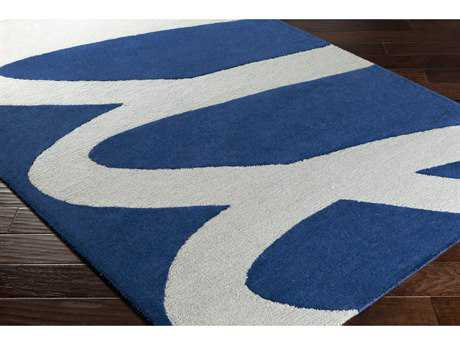 Surya Kennedy Rectangular Light Gray & Navy Area Rug