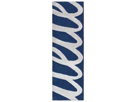Surya Kennedy 2'6'' x 8' Rectangular Light Gray & Navy Runner Rug