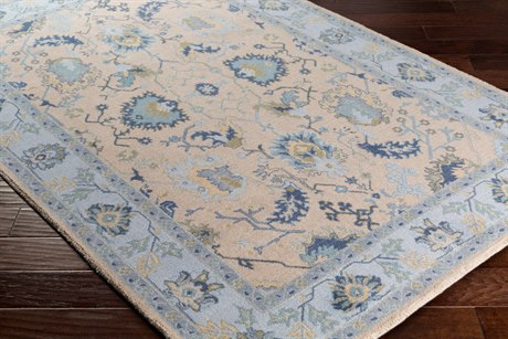 Surya Kansai Rectangular Light Gray, Sky Blue & Navy Area Rug
