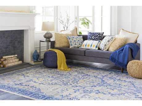 Surya Kansai Rectangular Light Gray, Navy & Saffron Area Rug