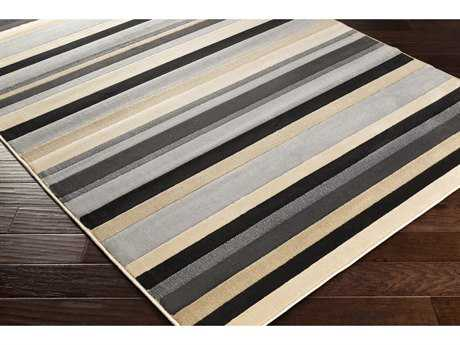 Surya Lenoir Rectangular Medium Gray, Black & Beige Area Rug