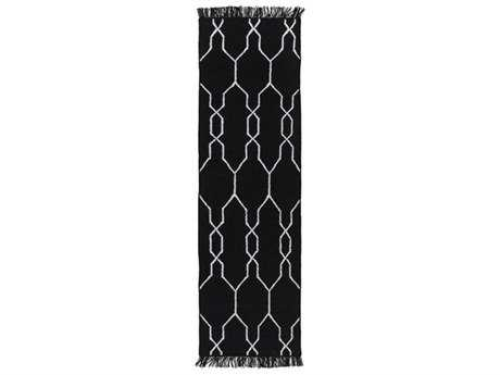 Surya Lagoon 2'6'' x 8' Rectangular Black & White Runner Rug