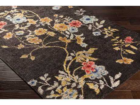 Surya Linnea Rectangular Dark Brown, Bright Blue & Coral Area Rug