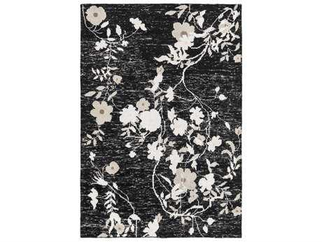 Surya Linnea Rectangular Black, Light Gray & White Area Rug