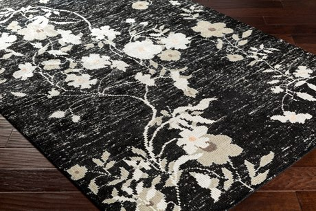 Surya Linnea Rectangular Black, Light Gray & White Area Rug