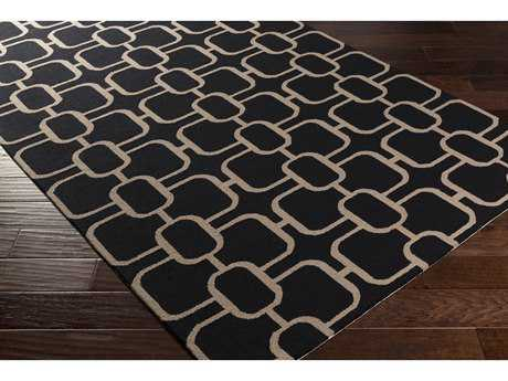 Surya Lockhart Rectangular Black & Beige Area Rug