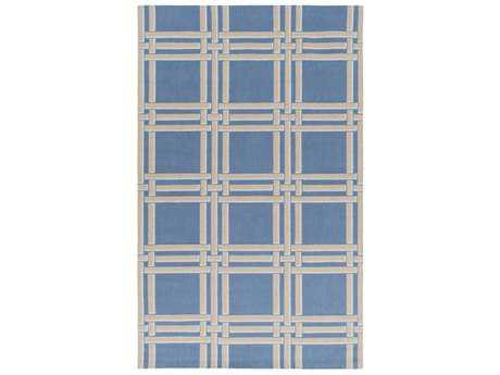 Surya Lockhart Rectangular Bright Blue, Khaki & White Area Rug