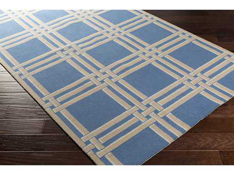 Surya Lockhart Rectangular Bright Blue, Khaki & White Area Rug