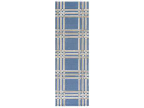 Surya Lockhart 2'6'' x 8' Rectangular Bright Blue, Khaki & White Runner Rug