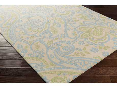 Surya Lullaby Rectangular Sky Blue, Mint & Ivory Area Rug
