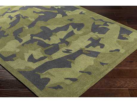 Surya Leap Frog Rectangular Dark Green & Black Area Rug
