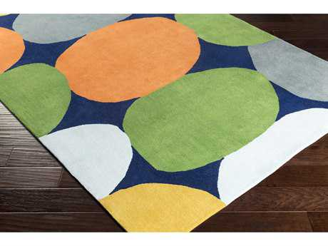 Surya Leap Frog Rectangular Mustard, Charcoal & Bright Orange Area Rug
