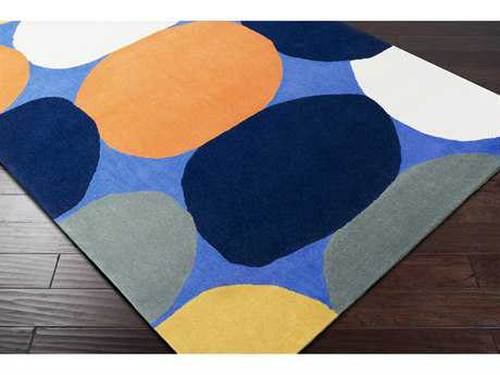 Surya Leap Frog Rectangular Mustard, Bright Blue & Bright Orange Area Rug
