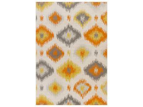 Surya Mavrick Rectangular Ivory, Light Gray & Bright Orange Area Rug