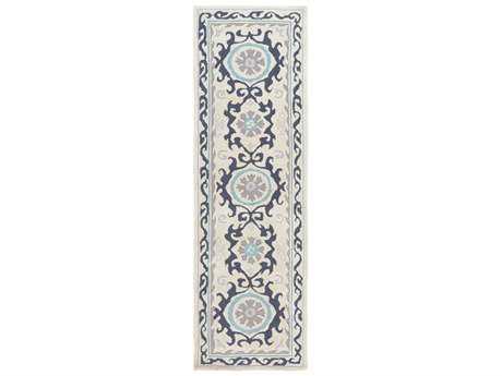 Surya Mamba 2'6'' x 8' Rectangular Lilac, Aqua & Taupe Runner Rug
