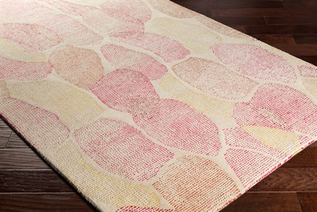 Surya Melody Rectangular Khaki, Bright Pink & Dark Red Area Rug