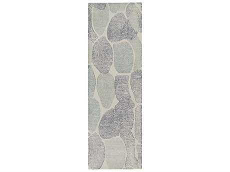 Surya Melody 2'6'' x 8' Rectangular Light Gray, Dark Blue & Navy Runner Rug