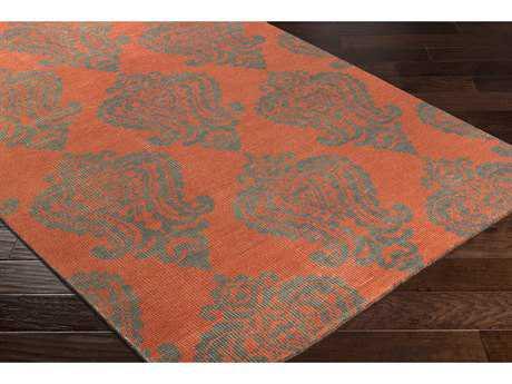 Surya Marta Rectangular Bright Orange & Charcoal Area Rug