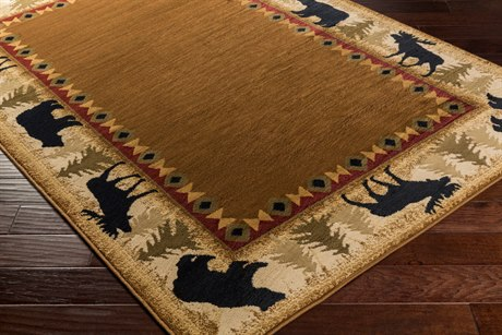 Surya Mountain Home Rectangular Tan, Beige & Dark Brown Area Rug