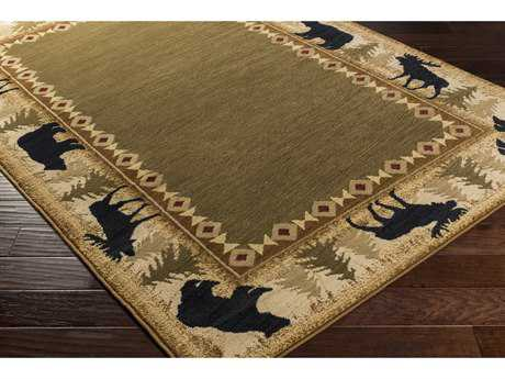 Surya Mountain Home Rectangular Dark Brown, Beige & Burgundy Area Rug