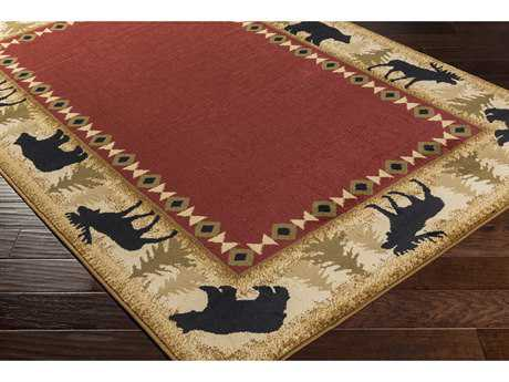 Surya Mountain Home Rectangular Burgundy, Beige & Dark Brown Area Rug