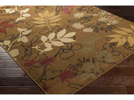 Surya Mountain Home Rectangular Tan, Dark Brown & Burgundy Area Rug