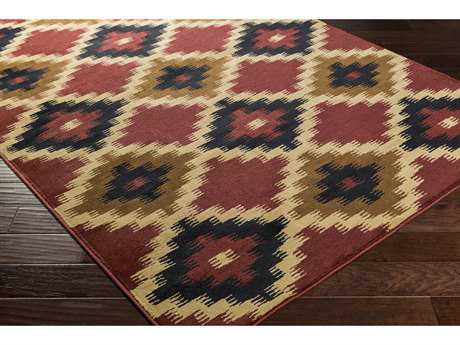 Surya Mountain Home Rectangular Burgundy, Black & Tan Area Rug
