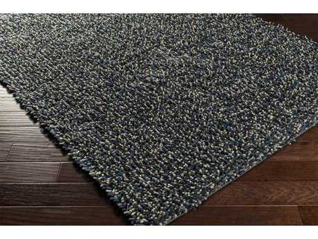 Surya Newton Rectangular Black, Bright Blue & Aqua Area Rug