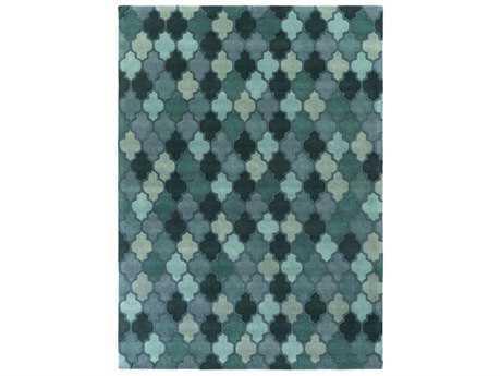 Surya Oasis Rectangular Teal, Dark Green & Violet Area Rug