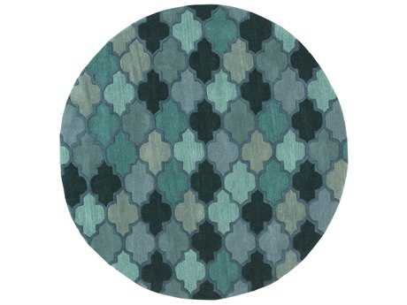 Surya Oasis Round Teal, Dark Green & Violet Area Rug