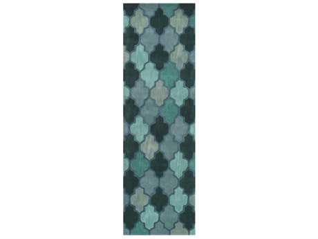 Surya Oasis 2'6'' x 8' Rectangular Teal, Dark Green & Violet Runner Rug