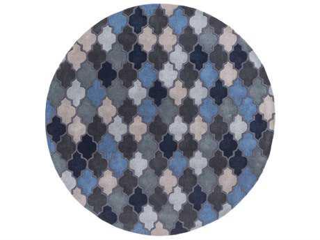 Surya Oasis Round Dark Blue, Black & Denim Area Rug