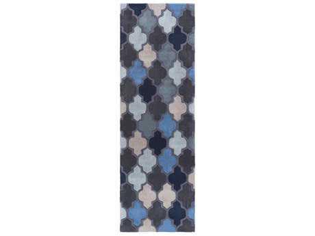 Surya Oasis 2'6'' x 8' Rectangular Dark Blue, Black & Denim Runner Rug
