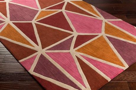 Surya Oasis Rectangular Bright Pink, Burnt Orange & Dark Purple Area Rug