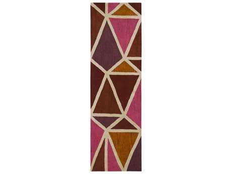 Surya Oasis 2'6'' x 8' Rectangular Bright Pink, Burnt Orange & Dark Purple Runner Rug