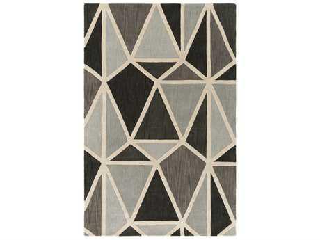 Surya Oasis Rectangular Silver Gray, Charcoal & Medium Gray Area Rug