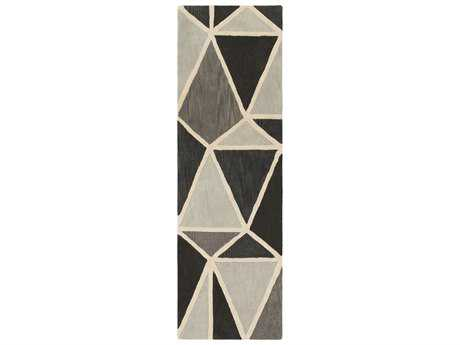 Surya Oasis 2'6'' x 8' Rectangular Silver Gray, Charcoal & Medium Gray Runner Rug