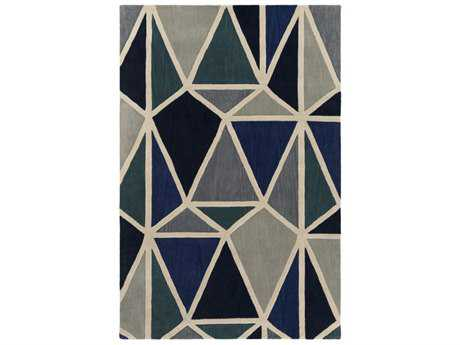 Surya Oasis Rectangular Dark Blue, Black & Light Gray Area Rug