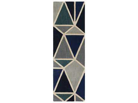 Surya Oasis 2'6'' x 8' Rectangular Dark Blue, Black & Light Gray Runner Rug