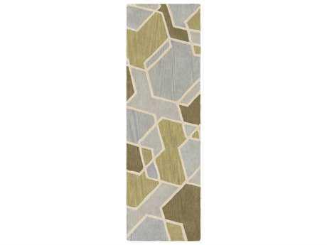 Surya Oasis 2'6'' x 8' Rectangular Light Gray, Olive & Dark Green Runner Rug