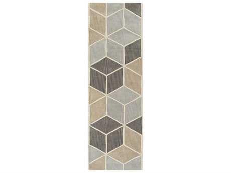 Surya Oasis 2'6'' x 8' Rectangular Light Gray, Charcoal & Taupe Runner Rug