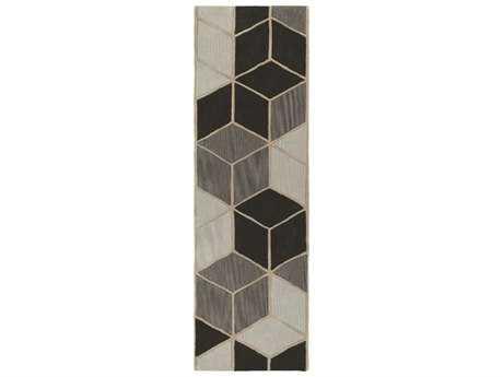 Surya Oasis 2'6'' x 8' Rectangular Charcoal, Light Gray & Khaki Runner Rug