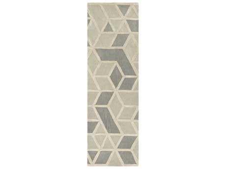 Surya Oasis 2'6'' x 8' Rectangular Light Gray, Medium Gray & Cream Runner Rug