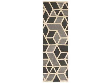 Surya Oasis 2'6'' x 8' Rectangular Charcoal, Medium Gray & Khaki Runner Rug